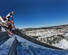 Daniel Bodin performs a 67 meters jump with his snow mobile in the ski jump arena of Örnsköldsvik, Sweden on March 14th 2013  // Anders Neuman/Red Bull Content Pool // P-20130319-00279 // Usage for editorial use only // Please go to www.redbullcontentpool.com for further information. //
